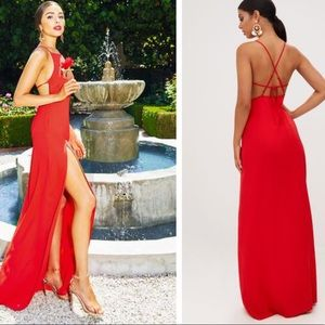 Prettylittlething Dresses Red Strappy Back Detail Chiffon Maxi Dress Poshmark